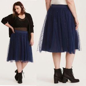 {0} Torrid Embroidered Mesh Midi Skirt in Navy